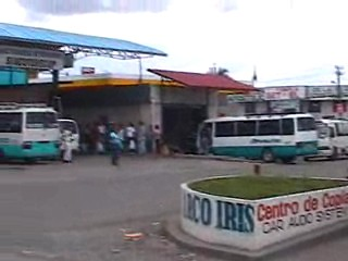 The bus took tourists to the river