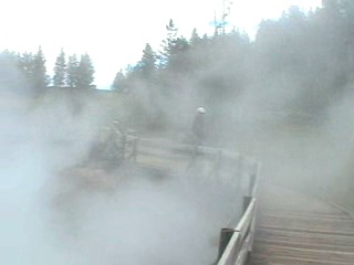 Sulfur steam pouring over the walkway