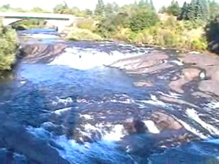 Spokane River Falls in the center